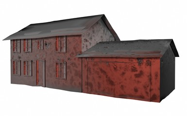 3D Illustration of rusty old house in need of repair on white