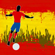 Football Spain, Vector Soccer player over a grunged Spanish Flag