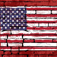 Grunged USA Flag over a brick wall