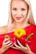 Beautiful woman with three peppers