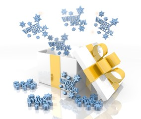 christmas present with winter special icon