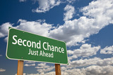 Second Chance Just Ahead Green Road Sign Over Sky