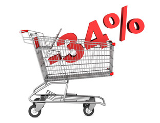 shopping cart with 34 percent discount isolated on white backgro