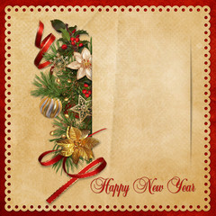 Beautiful vintage background with Christmas decorations