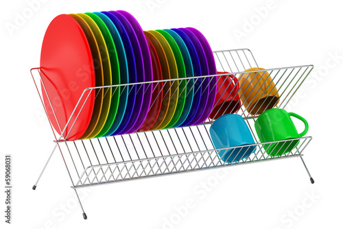 plate rack with multicolor tableware isolated on white backgroun