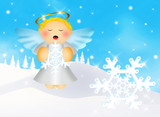 Angel with snowflake in winter