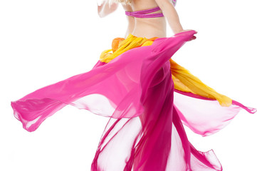 Belly dancer in action, cropped image.