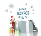 santa claus with gift and jackpot symbol