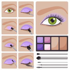 Step by step make up set for green eyes - vector