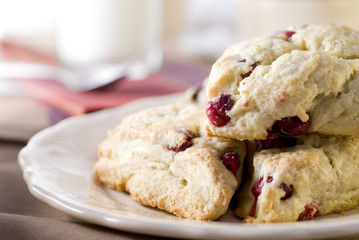 cranberry scones at the breakfast table.