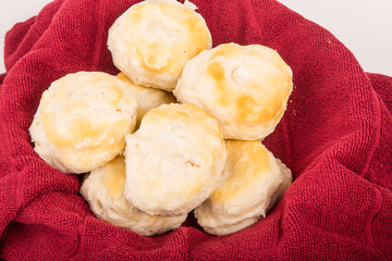 Fresh Hot Biscuits in Red Towel