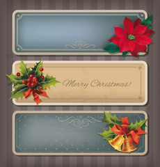 Christmas vintage banners set. Vector illustration.