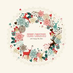 Merry Christmas vintage wreath card