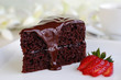Piece of chocolate cake with warm fudge sauce. - 59071686