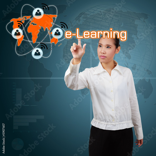 Woman showing  e-Learning concept of system online on the intern