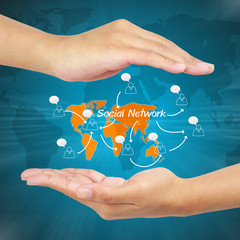 Hand of businessman showing social network concept.