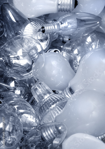 .Old Light Bulbs in garbage can