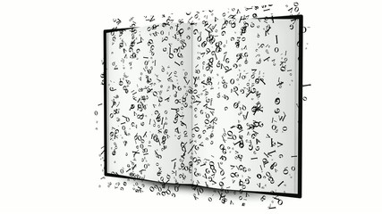 libro con letras en movimiento