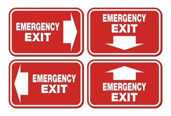 emergency exit signs - red sign