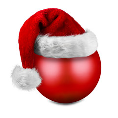 christmas ball with santa hat