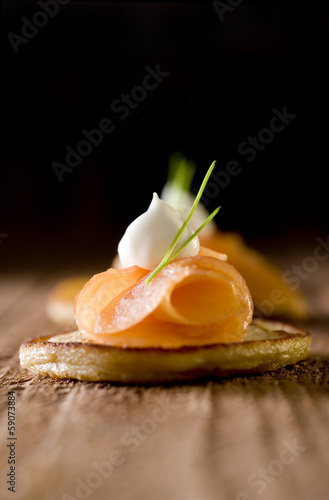 smoked salmon and creme fraiche