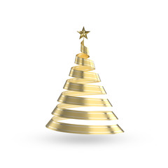 Abstract 3D christmas golden ribbon tree with clipping path