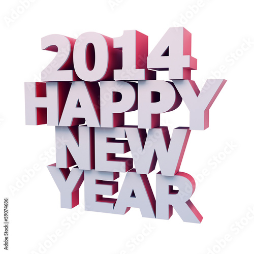 2014 HAPPY NEW YEAR 3D ilustration with clipping path