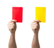 Soccer red and yellow card showing isolated - 59075292