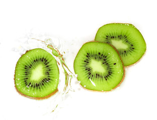 kiwi fruit in water on a white background