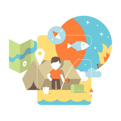 conceptual illustration of fishing. flat design concept