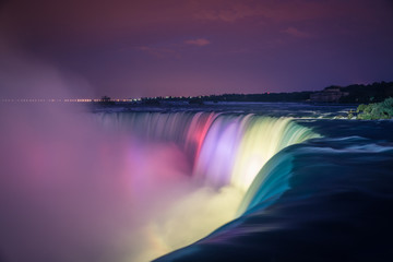 Niagara Falls at night with lights
