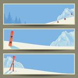 Set of banners, winter landscape, vector illustration, eps10.