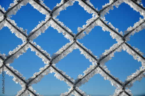 Winter background with a lattice covered by ice crystals