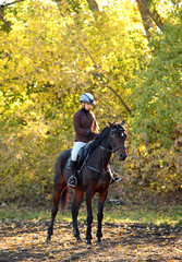 Girl with her horse in autumnal nature