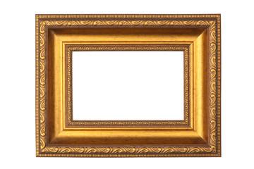 Golden antique frame, isolated on white background