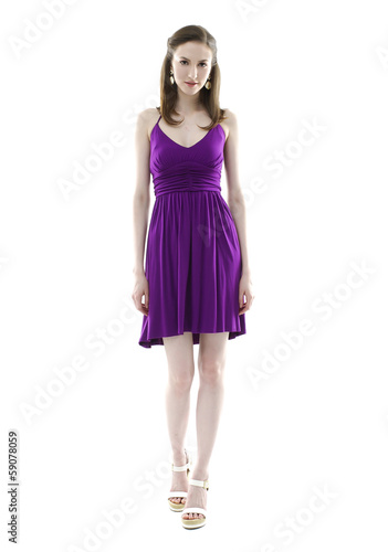 Full body portrait of Caucasian young stylish woman model