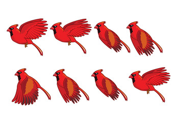 Cardinal Bird Flying Animation Sprite