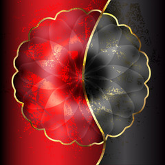 red and black flower with gold