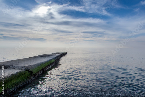 pier on the background of sea