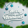 Merry Christmas lettering over holiday background
