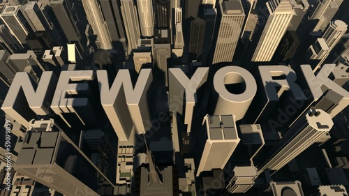 animation from the name new york with building