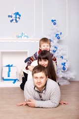 Funny family. Christmas, New Year, holiday concept.