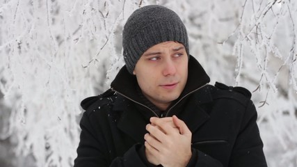 Young Man Freezing Outdoors Winter Cold Frostbite