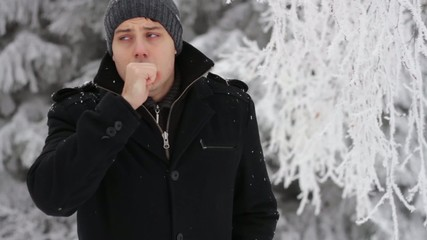Man Coughing Outside Cold Weather Winter Sickness