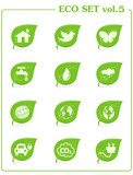 Ecology icon set, v4. Leaf nature icons poster