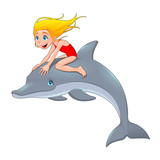 Girl and the dolphin.