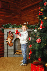Boy, Christmas tree and gifts