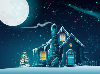 Illustration of Christmas night with a fabulous house