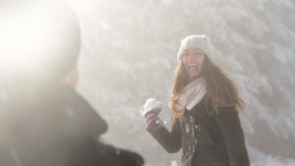 Sunny Winter Joyful Woman Throwing Snow Happiness Outdoors