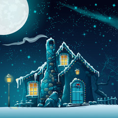 Illustration of a winter night with a fabulous house and lantern